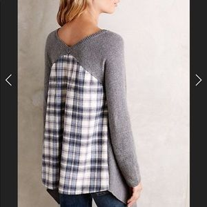 Anthropologie Moth Draped Flannel Back Sweater XS
